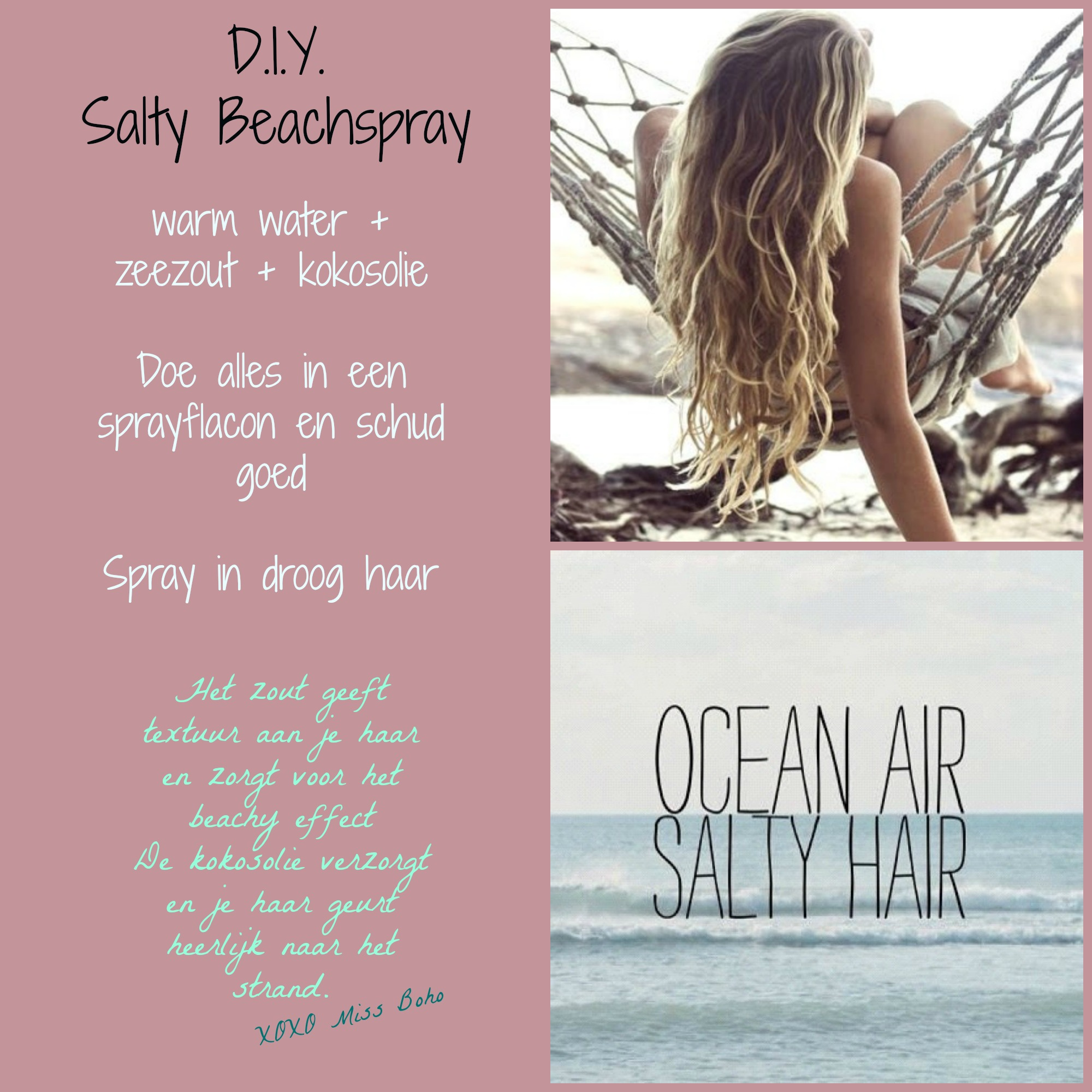 DIY beachspray zeezout kokosolie